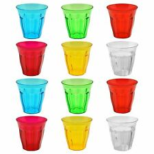 Plastic Outdoor Drinking Tumblers. Coloured Party / Kids Glasses - 250ml - x12