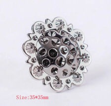 "Set of 5 WESTERN HORSE SADDLE TACK 1-3/8"" Bright Silver BERRY CONCHOS Screwback"