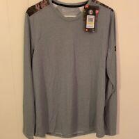 Under Armour Mens Threadborne Crew Top Shirt Gray Heathered Long Sleeves M New