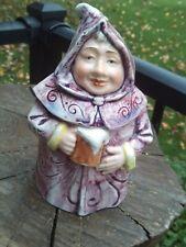 "Vintage 7"" Majolica Pottery Figural Monk WOMAN? Tobacco Humidor Jar"
