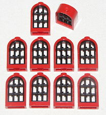 LEGO LOT OF 10 NEW RED ROUNDED WINDOWS WITH BLACK LATTICE CASTLE PARTS