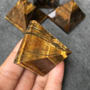 1pc natural Tiger's eye jasper crystal quartz pyramid obelisk healing H304