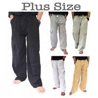 Men's PLUS SIZE 100% Cotton Cargo Pants baggy pants Drawstring Elastic Waist