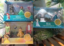 3 Disney Princess Ariel Belle Elsa Light Dress Mini Poly doll Figure Clip sets