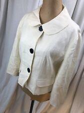 Womens Talbots White Linen Coat Peplum Jacket Black Buttons Office Work