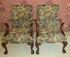 2 Southwood Furniture Chippendale Upholstered Chairs Mahogany Ball Claw Feet