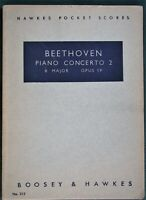 BEETHOVEN Piano Concerto 2 Boosey & Hawkes pocket study score sheet music book