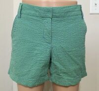 Size 4 J CREW Seersucker Shorts Women's Green Blue 100% Cotton Excellent