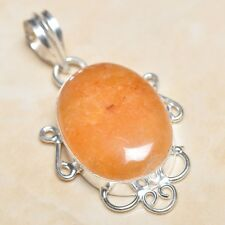 "Handmade Calcite Jasper Gemstone 925 Sterling Silver Pendant 2"" #P05288"