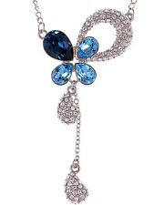Blue Zircon Montana Tone New Crystal Elements Petal Tears Hope New Necklace
