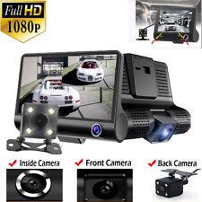 4'' 3 Lens 1080P HD Car DVR Dash Cam Vehicle Video Recorder Rearview Camera 170°