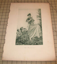 """THE RENDEZVOUS """"Jean Gustave Jacquet"""" Vintage BLUE-GREEN TONED Engraving"""