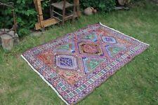 "Vintage Handmade Soumak Silk Kilim Rug 72""x48"""