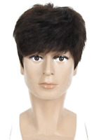Men real Human Hair Toupee Hairpiece short hair Replacement top wig