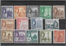 MALTA 1956 PICTORIAL SHORT SET TO 2/6d.  SG.266-279 LIGHTLY  MOUNTED MINT--MLH