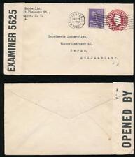 USA WW2 1940 STATIONERY 2c + 3c INTERCEPTED by BERMUDA CENSOR 5625