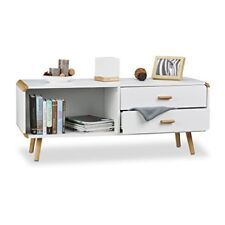 Relaxdays Commode Lowboard Coins arrondis en Blanc Meuble TV Buffet avec Tiro...