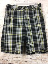 Truth Soul Armor Bermuda Shorts 32 Men's Urban Hip Hop Yellow Black Gray plaid