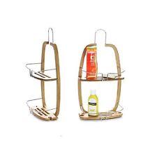 2 tier bamboo hanging wooden shower caddy bathroom shelf organizer unit