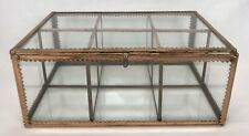 Vintage Art Deco Copper & Glass 6 Section Trinket Miniature Display Case Box