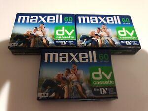 MAXELL 60DV CASSETTE x3  - MINI DIGITAL VIDEO CASSETTE - NEW  SEALED Mini DV