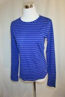 TOMMY BAHAMA Top Women's Size M Blue White Striped Casual Long Sleeve Stretch