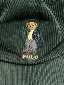 Vtg Polo Sport Ralph Lauren Bear Corduroy Cap Hat Green 90's Spell Out Country