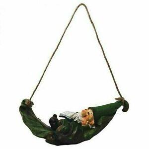Woodland Wilf Asleep In Leaf Swing Hanging Decor Garden Gnome Resin Ornament