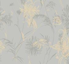 Wallpaper Designer Modern Silver Gray Background w/ Raised Ink Beige Tan Floral