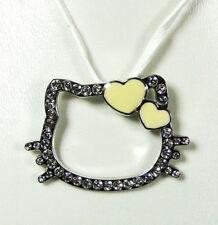 Pendentif Hello Kitty coeur jaune cordon blanc