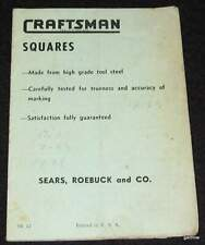CRAFTSMAN SQUARES VINTAGE ILLUSTRATED GUIDE * SEARS ROEBUCK and CO.