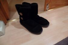 Ladies Marco Tozzi Mid Calf Boots Black Suede Leather Bailey Button  UK 7/40 VGC