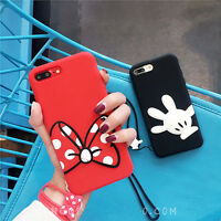 Cartoon Cute Minnie mickey Strap Silicone case Cover for iPhone X 8 7 6 6S Plus