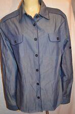 St. John Blue Denim Chambray 100% cotton Button Down Blouse Shirt marie gray 16