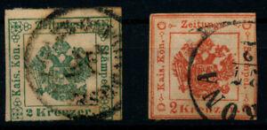 LOMBARDEI-VENETIEN Zeitungsstempelmarken:-2kr, grün MILANO, -2kr, rot, VERONA.