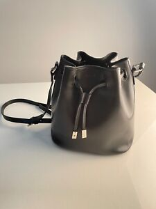 Agnes B Black Leather Bucket Crossbody / Shoulder Bag