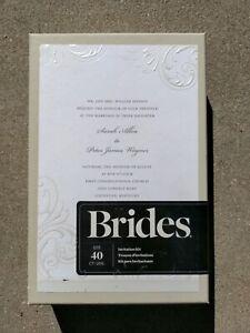 Brides Gartner Studios printable wedding invitation kit -White Whisp- 40 ct