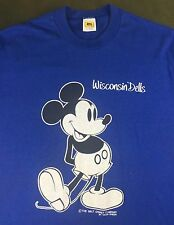 Vintage Mens Xl 80s 90s Walt Disney Mickey Mouse Wisconsin Dells Blue T-Shirt