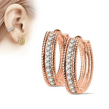 Beaded Edge Dome Centre CZ Lined 316L Surgical Steel Post Hoop Earrings