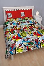 DOUBLE BED DUVET COVER SET MARVEL COMICS JUSTICE THOR HULK IRON MAN STRIP MULTI