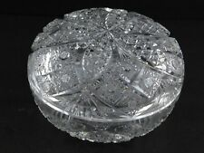 Vintage American Brilliant Glass Powder Box Lidded Jewelry Container Hobstar ABP