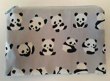 Hecho a mano Zippy Monedero/Cartera De Tela De Algodón-Diseño Bebé pandas en Gris