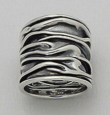 22mm Wide Solid Sterling Silver CRINKLED Cigar Band Ring size 7 GORGEOUS 8.8g