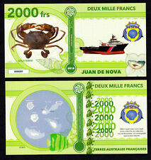 ILE JUAN DE NOVA ● TAAF / COLONIE ● BILLET POLYMER 2000 FRANCS ★ N.SERIE 000009