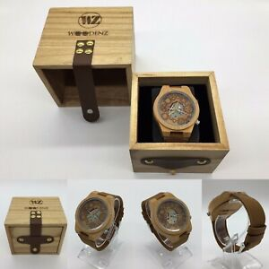 Men's Handcrafted Bamboo Wood Watch, Japanese Quartz, Genuine Leather Strap