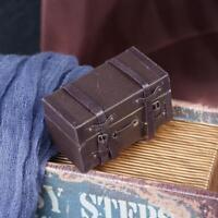 Fashion Retro 1:12 Dollhouse Miniature Leather Wood Suitcase Mini Luggage Box