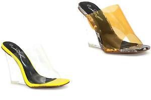 Womens Clear Perspex Wedge High Heels Sandals Mules Summer Ladies Shoe Sandals