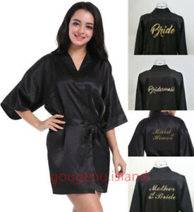 UK Silk Satin Personalized Wedding Bridesmaid Robe Bride Mother Dressing Gown