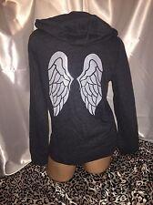 Victorias Secret Angel Wings Hoodie Gray W/Sequin Wings Small