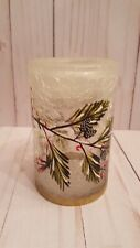 """4.75"""" Christmas holiday crackled glass tealight holder candle decor"""